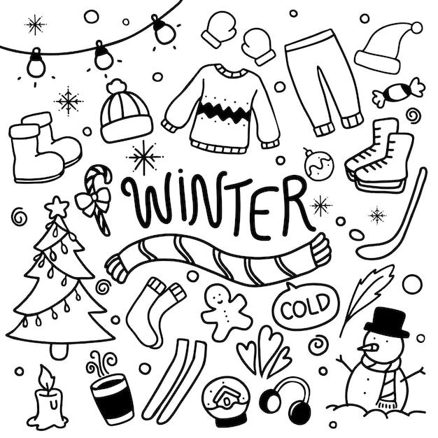 Зимние каракули рисованной вектор Premium векторы