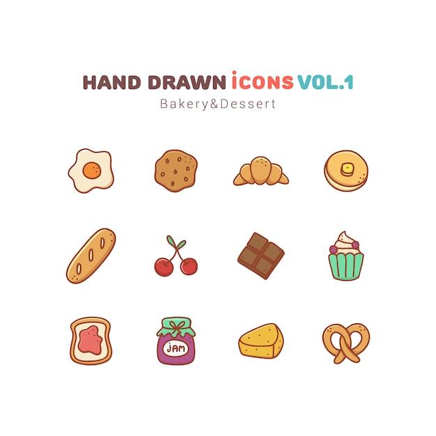 Набор хлебобулочных и десерта рисованной иконки Premium векторы