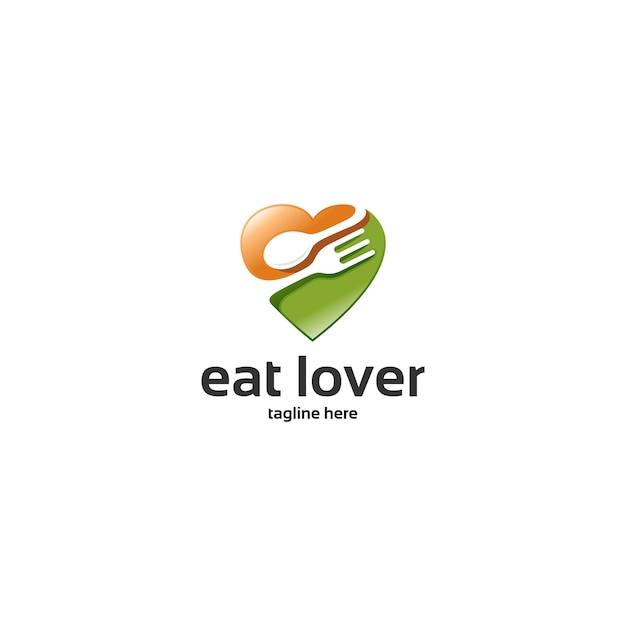 愛食べるロゴ Premiumベクター