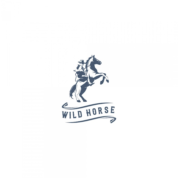 Логотип дикой лошади Premium векторы