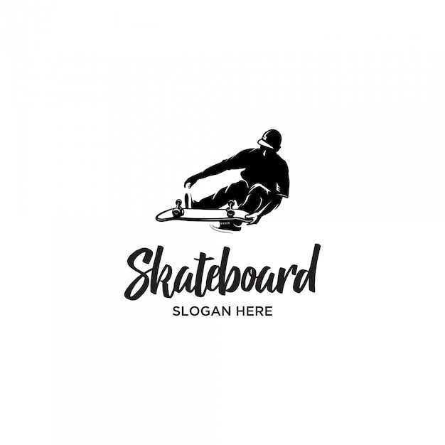 Скейтборд человек стиль силуэт логотип шаблон Premium векторы
