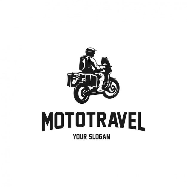 旅行者のシルエットのロゴのオートバイの冒険 Premiumベクター