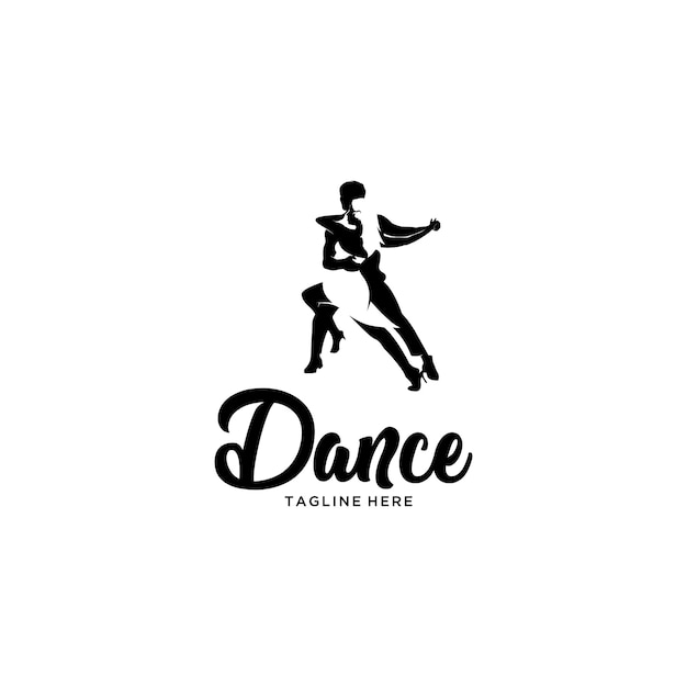 シルエットタンゴダンスのロゴ Premiumベクター