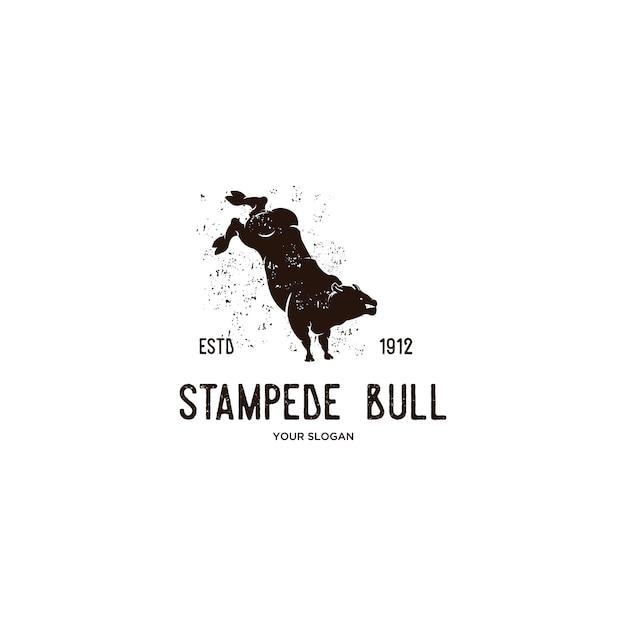 野生の雄牛スタンピード動物ビンテージロゴ Premiumベクター