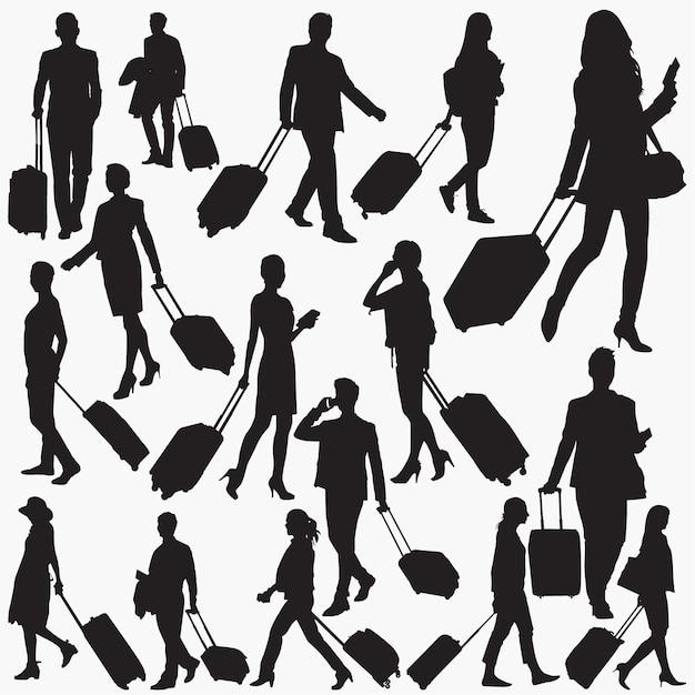 スーツケースのシルエットを持つ旅行者 Premiumベクター