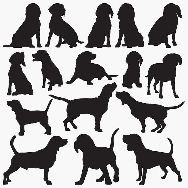 ビーグル犬のシルエット Premiumベクター
