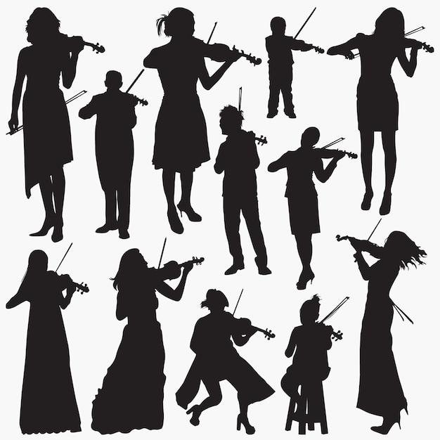 バイオリニストのシルエット Premiumベクター