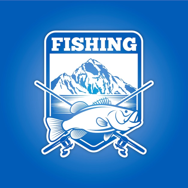 Рыбалка знак Premium векторы