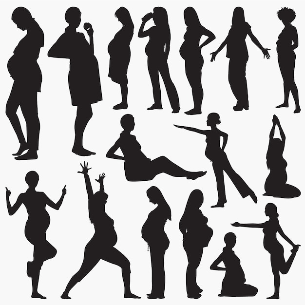 妊娠中の女性の活動のシルエット Premiumベクター