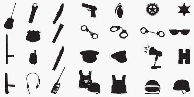 警察機器セットシルエット Premiumベクター