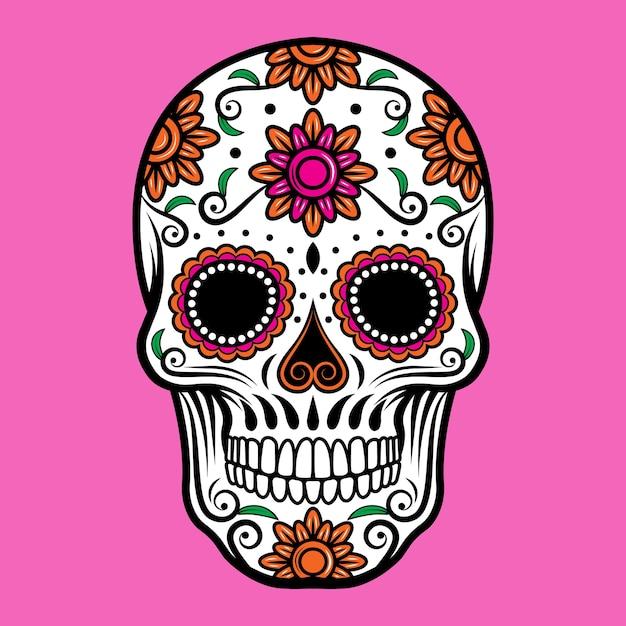 装飾的な砂糖の頭蓋骨 Premiumベクター