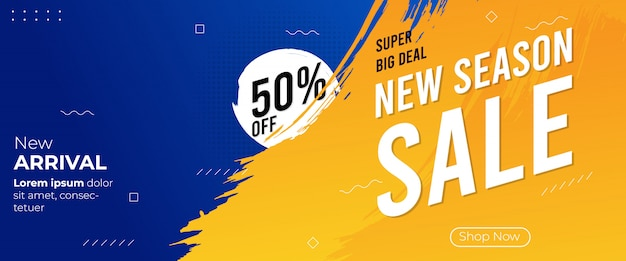 Новый сезон баннер продажа кисти Premium векторы