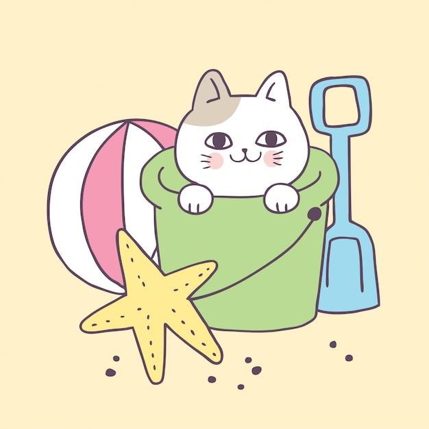 ビーチベクトル漫画かわいい猫。 Premiumベクター