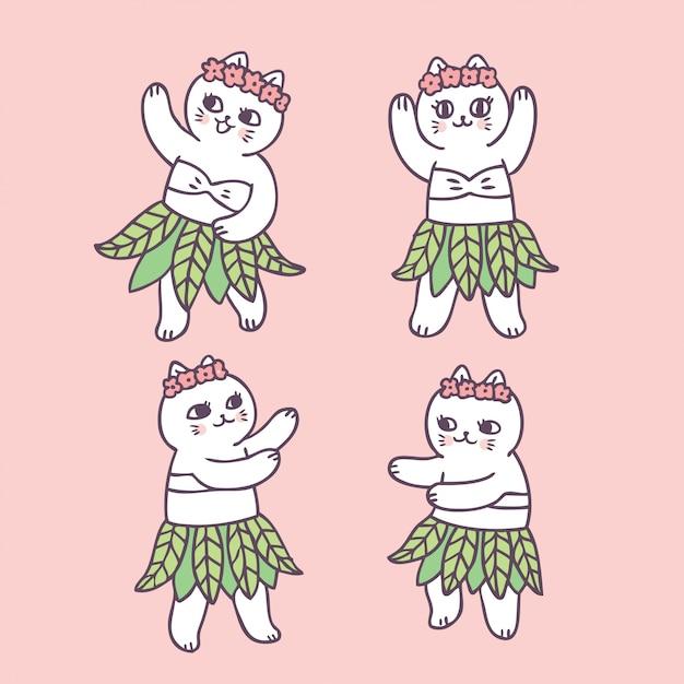 漫画かわいい夏猫の踊り Premiumベクター