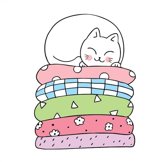 Мультфильм милый кот спит вектор. Premium векторы