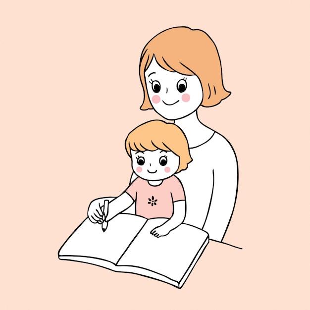 学校の母親と赤ちゃんの執筆に戻ってかわいい漫画 Premiumベクター