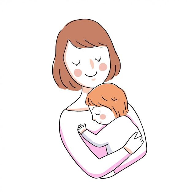 漫画かわいい母親と赤ちゃんを抱いて Premiumベクター
