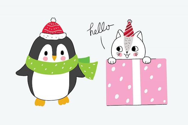 Мультяшный милый зимний пингвин и кот в коробке с девушкой Premium векторы