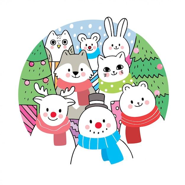 漫画かわいいクリスマス Premiumベクター