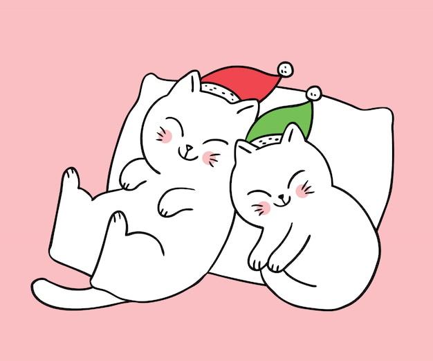 眠っている漫画かわいいクリスマスカップル猫。 Premiumベクター