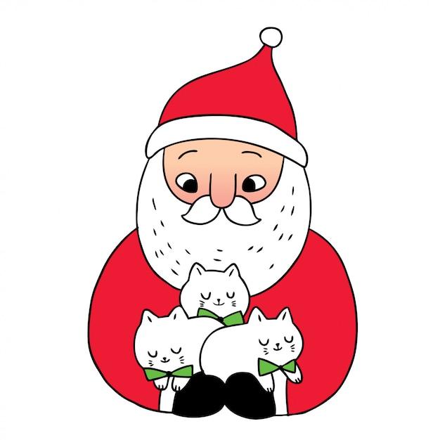 Мультяшный милый новогодний дед мороз и коты Premium векторы