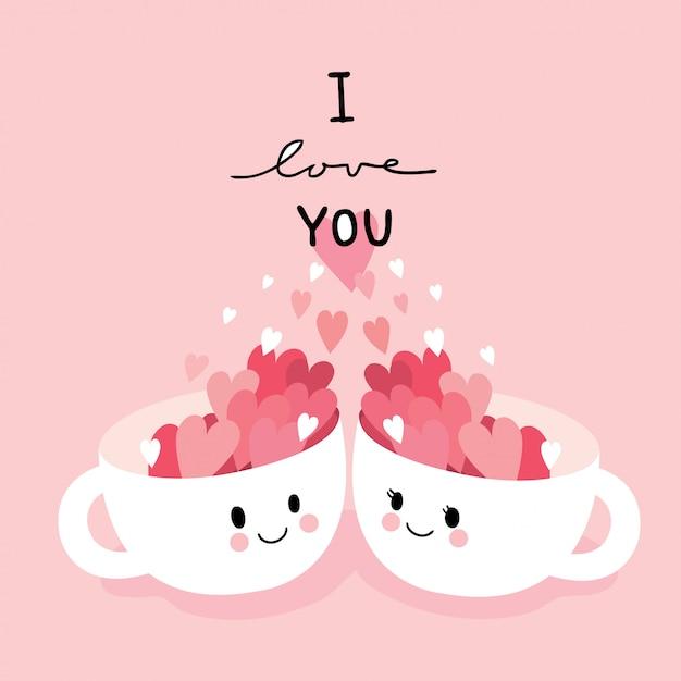 漫画かわいいバレンタインの日のカップル猫と心のベクトル。 Premiumベクター