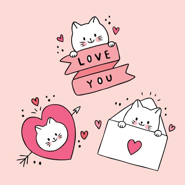 かわいいバレンタインの日の白猫を漫画し、愛のベクトルを落書き。 Premiumベクター