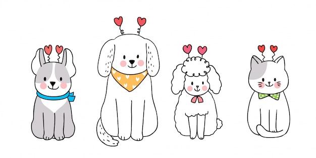Кошка и собаки и сердца Premium векторы