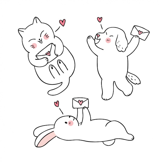Мультфильм милый день святого валентина кошка и собака и кролик и любовное письмо вектор. Premium векторы