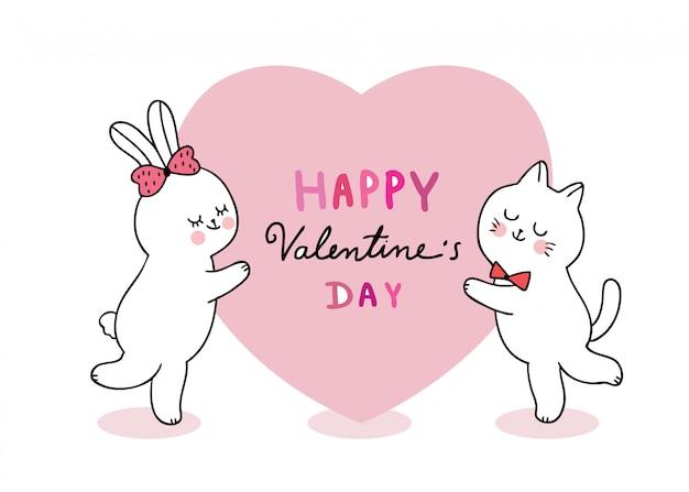 漫画かわいいバレンタインの日の猫とウサギと大きな心のベクトル。 Premiumベクター