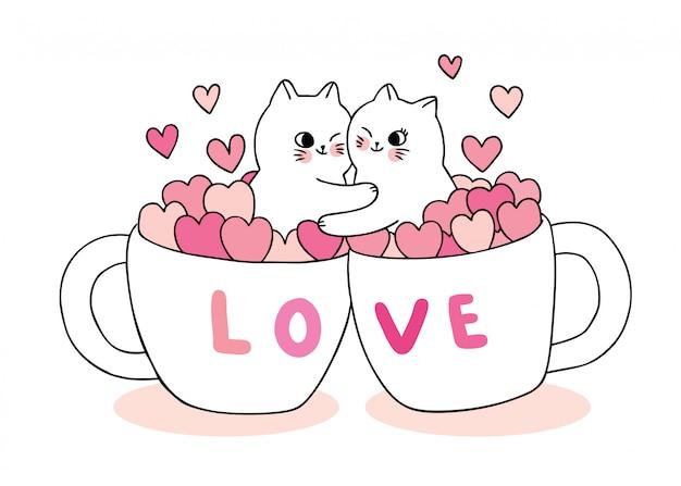 漫画かわいいバレンタインデーの恋人猫とカップコーヒーベクトルの心。 Premiumベクター