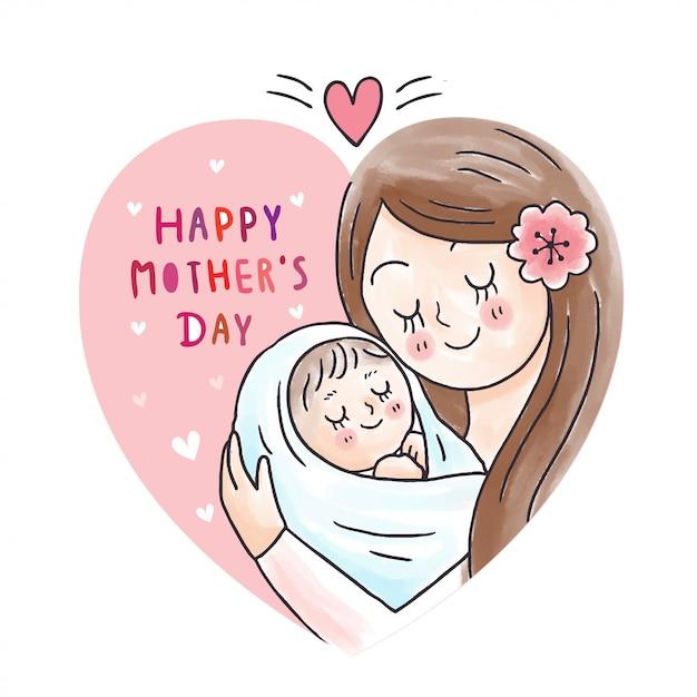 ハートフレームで漫画かわいい母ハグ赤ちゃん Premiumベクター