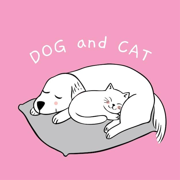 Мультфильм милая собака и кошка спать. Premium векторы