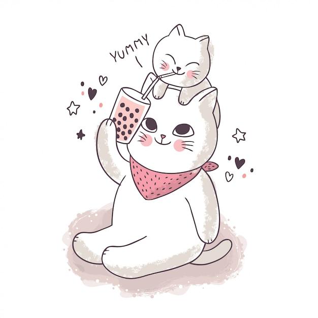 漫画のかわいい友情、泡茶を飲む白猫 Premiumベクター