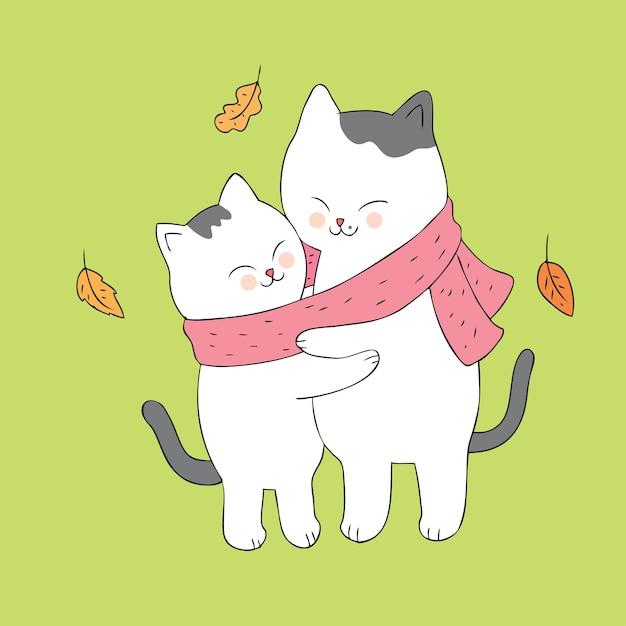 Открытки, картинки с обнимающимися котами нарисованные