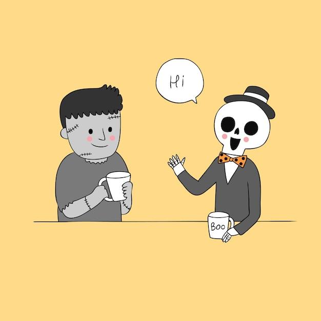 ゾンビベクトルを話す漫画かわいいハロウィーンのスケルトン。 Premiumベクター