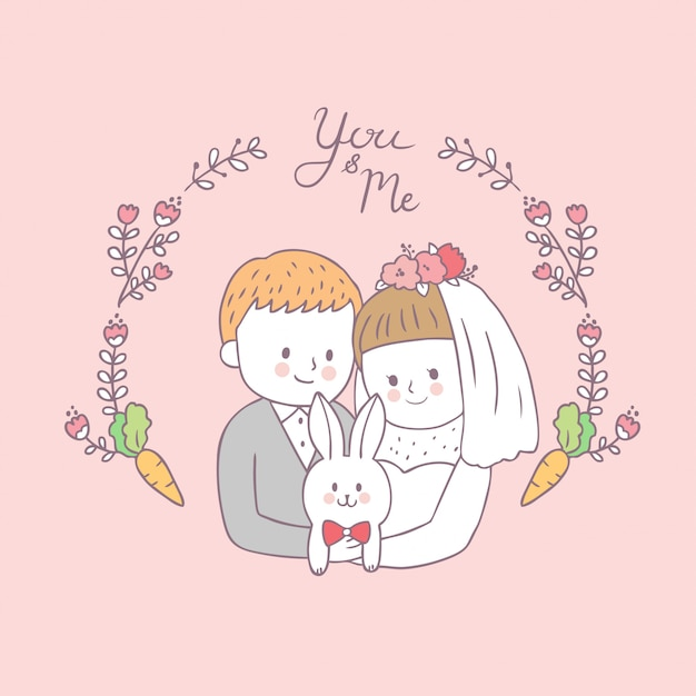 漫画かわいい花嫁の抱擁の新郎とウサギのベクトル。 Premiumベクター