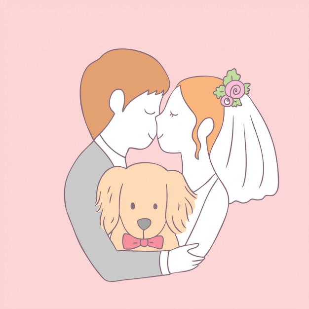 漫画かわいい花嫁キスの新郎と犬のベクトル。 Premiumベクター