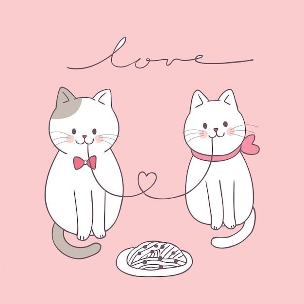 Мультфильм милый день святого валентина пара кошек едят. Premium векторы