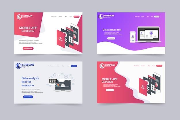 トレンディウェブサイトランディングページベクトルテンプレートデザイン Premiumベクター