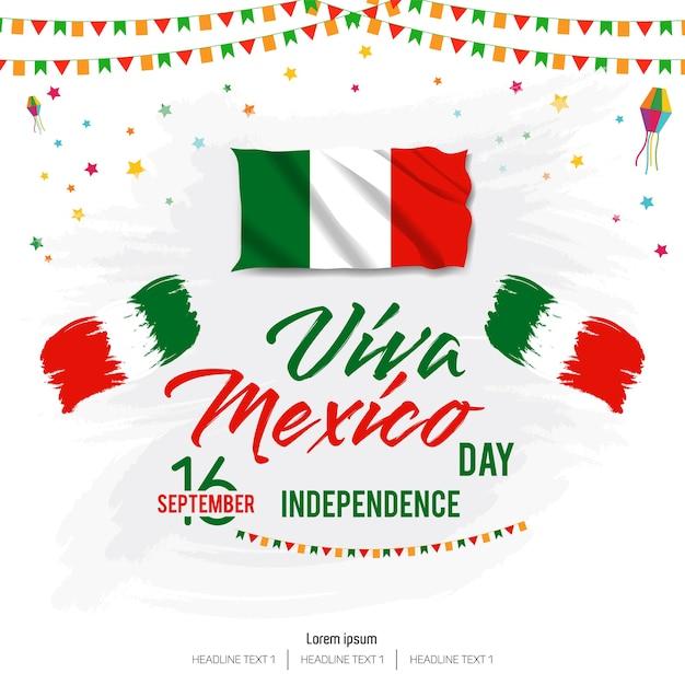 ビバ・メキシコハッピー・インディペンデンス・デイ・ベクトルの背景 Premiumベクター