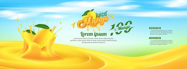 マンゴージュース広告バナー広告テンプレートデザイン Premiumベクター