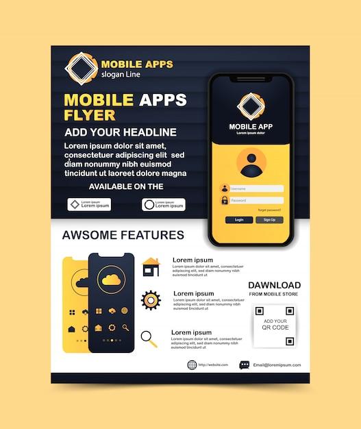 Информационный шаблон флаера для мобильного приложения Premium векторы