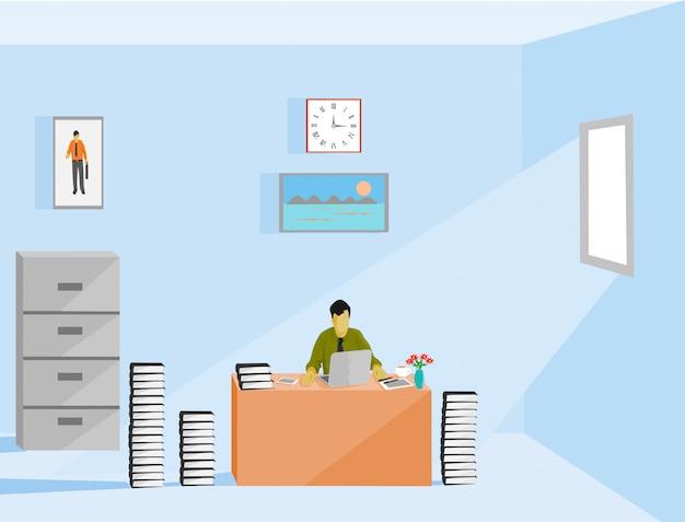 ビジネスマンは多くの書類作成に取り組んでいます Premiumベクター