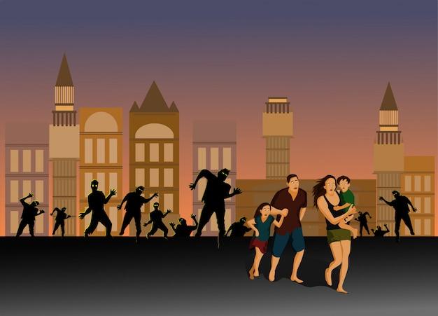 Родители и дети убегают от зомби на улицах города Premium векторы