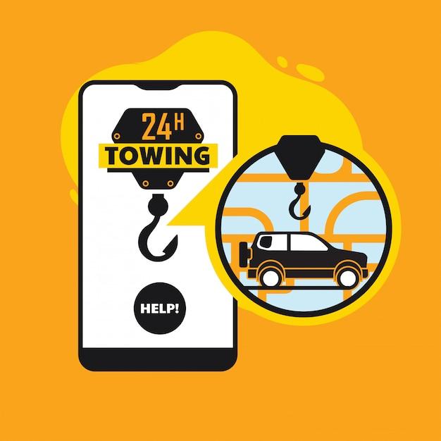 オンライン道端での援助、車の牽引サービスモバイルアプリのコンセプト Premiumベクター