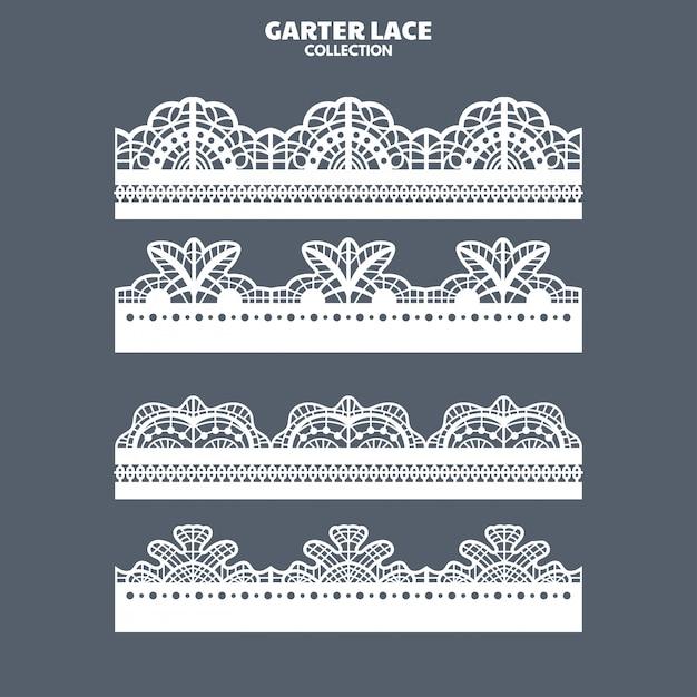 刺繍とレーザーカットのためのガーターレース飾りの設定 Premiumベクター