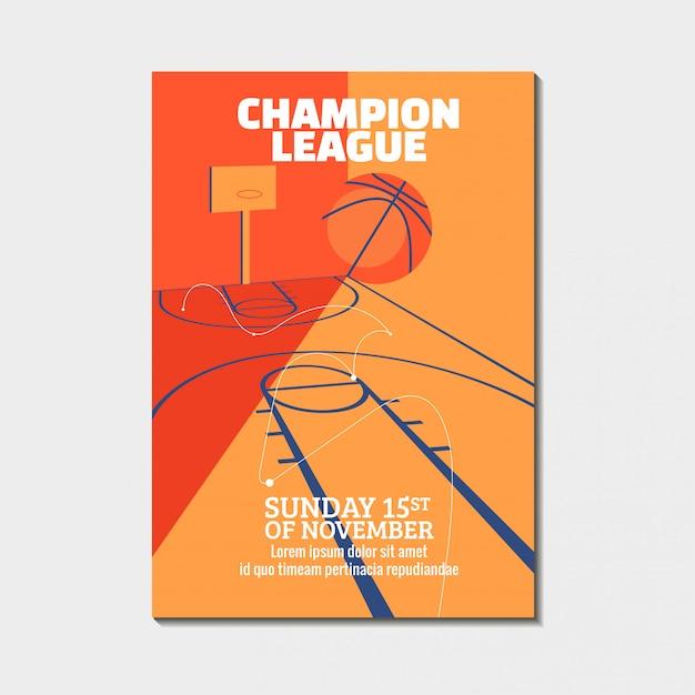 Современный баскетбольный турнир, плакаты, флаер с баскетбольным мячом Premium векторы