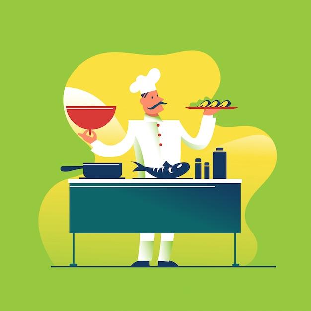 素敵なシェフが料理と料理を提供 Premiumベクター