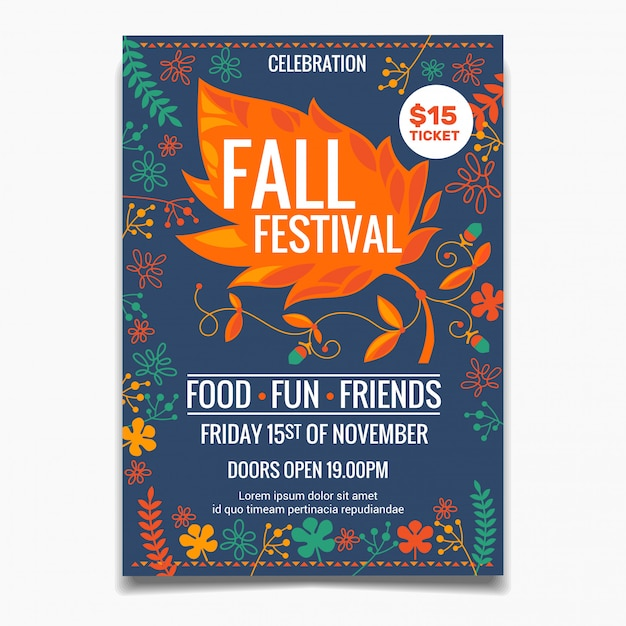 Шаблон плаката осеннего фестиваля Premium векторы